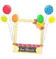photozone with frame and balloons just married vector image vector image