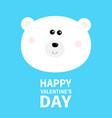 polar white bear cub round face head happy vector image vector image