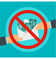 say no to bribery concept background flat style vector image vector image