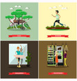 set of disabled people posters in flat vector image vector image