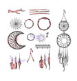 set of dreamcatcher design elements in boho style vector image