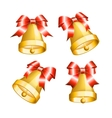 Set of golden bells with red bows vector image vector image
