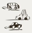 set of hand drawn retro car vector image