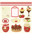 Set of strawberry design elements vector image vector image