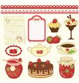 set strawberry design elements vector image vector image
