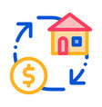 sign exchange money on house thin line icon vector image