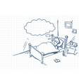 sketch man sleeping dream in bed doodle over vector image