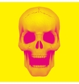 Skull in vintage duotone and halftone style vector image vector image