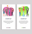 startup launching rocket businessman holding prize vector image vector image