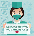 stay at home social media banner self-quarantine vector image