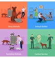 Stray Animals Icons Set vector image