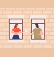 two female neighbors drinking tea together vector image vector image