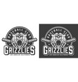 vintage monochrome aggressive bear mascot emblem vector image