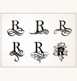 vintage set capital letter r for monograms and vector image vector image