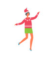 woman in green skirt red sweater with snowflakes vector image vector image