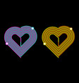 pink-blue and yellow-orange heart vector image