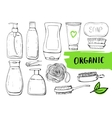 Set of linear hand drawn cosmetic bottles vector image