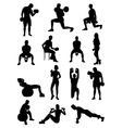 Dumbbell Exercises Silhouettes vector image