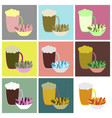 set icons in flat design beer and nuts vector image
