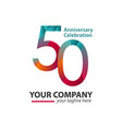 50 year anniversary celebration company template vector image vector image