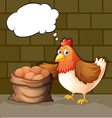 A hen beside the eggs with empty callouts vector image