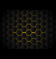 abstract black hexagon pattern on yellow neon vector image vector image