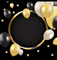 abstract card with golden frame and balloons vector image vector image