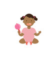 african baby girl with toy rattle full length vector image