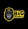 angry gorilla head in baseball cap vector image