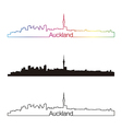 Auckland skyline linear style with rainbow vector image vector image