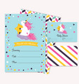 baby shower invitation template with cute unicorn vector image