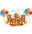 bear group in party theme cartoon character on vector image vector image