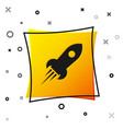 black rocket ship with fire icon isolated on white vector image vector image