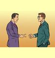 businessmen game rock paper scissors vector image vector image