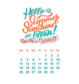 calendar for june 2 0 1 8 hand drawn vector image vector image