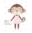 card with pretty monkey vector image
