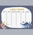 childish weekly planner with cute dinosaur and vector image