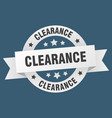 clearance ribbon clearance round white sign vector image vector image