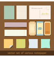 collection various notes paper and post card vector image