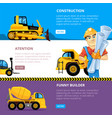 construct machines web banners heavy machinery vector image