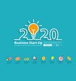 creative light bulb idea with 2020 new year vector image vector image