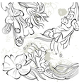 decorative sketch with floral element vector image vector image