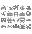 dotted icons set some transport facilities vector image