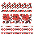 embroidered cross-stitch ethnic ukrainian pattern vector image