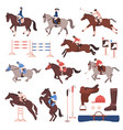 equestrian sport icons set vector image