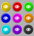 Eye icon sign symbol on nine round colourful vector image vector image