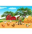 Farmer with chickens and eggs vector image vector image