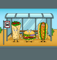 fast food bus cartoon pop art vector image