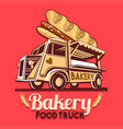 food truck bakery bread fast delivery service logo vector image vector image