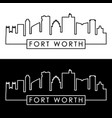 fort worth skyline linear style editable file vector image vector image